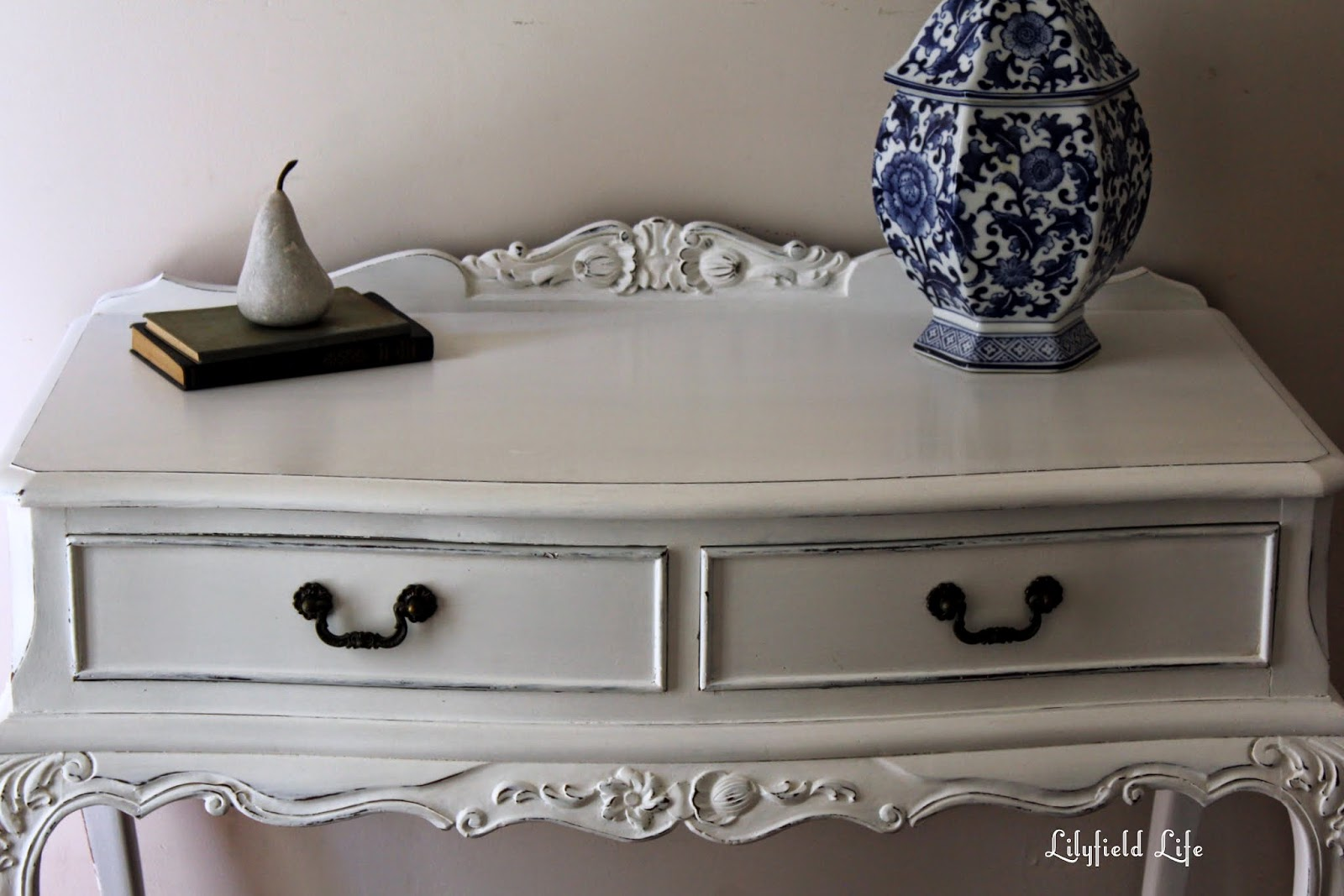 White Painted French Style Hall Table / Vanity Lilyfield Life