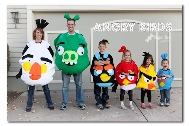 Angry Birds Family Costumes www.sugarbeecrafts.com