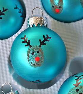 reindeer thumbprint ornament, Christmas ornament, kids crafts