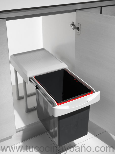 Cubo basura extraible mueble 40 tu cocina y ba o for Poubelle de cuisine coulissante monobac