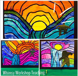 Art inspired by Ted Harrison guided lessons