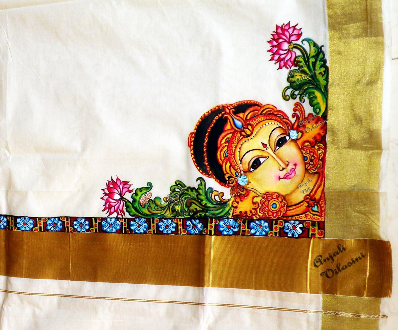 Anjali Vilasini: Mohini hand painting on kerala set mundu for Fabric Painting Designs For Kerala Sarees  104xkb