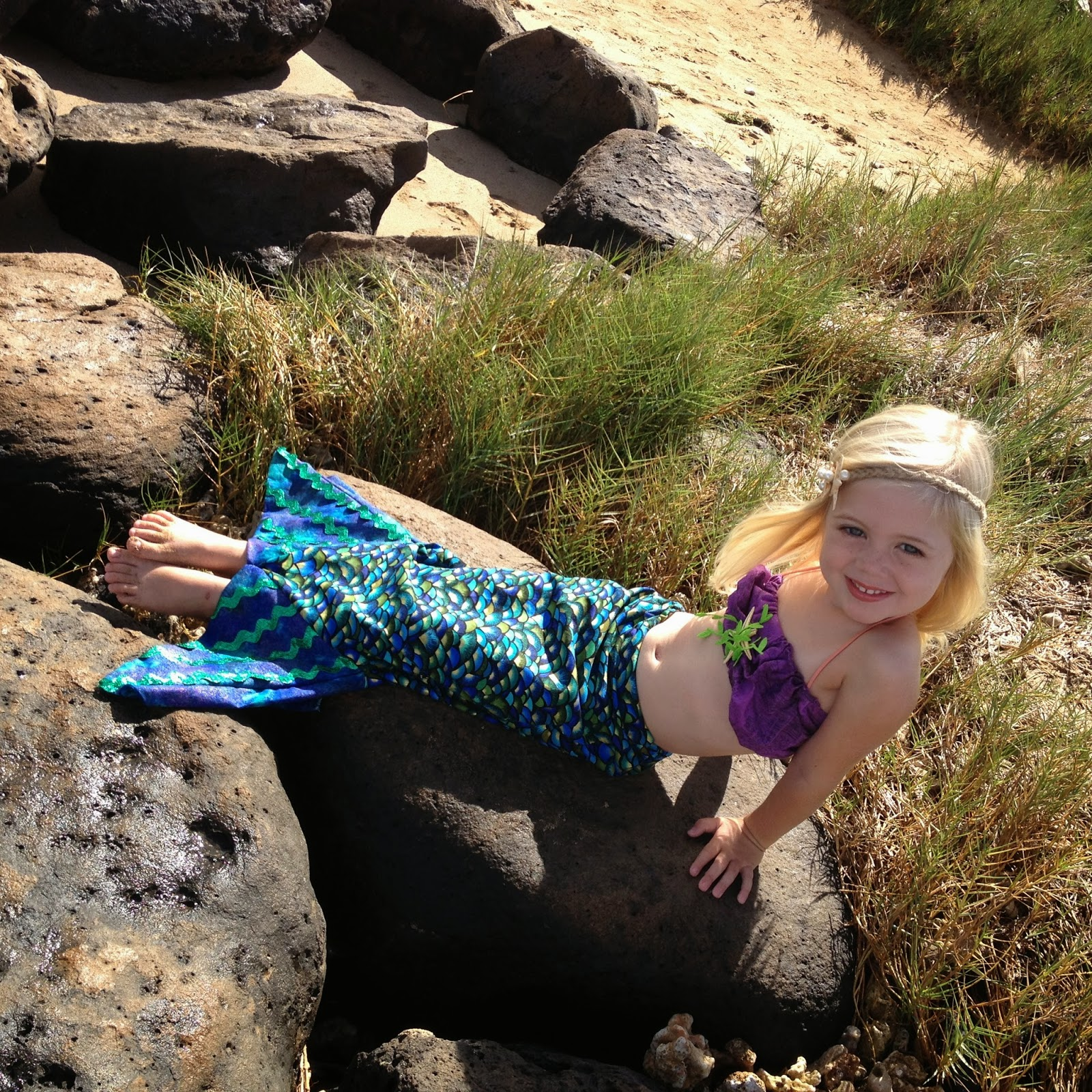DIY kids Halloween mermaid costume fin you can walk in starfish headband Ivy and Company