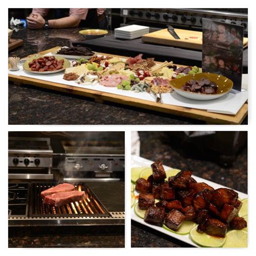 charcuterie, brisket point, strip steaks