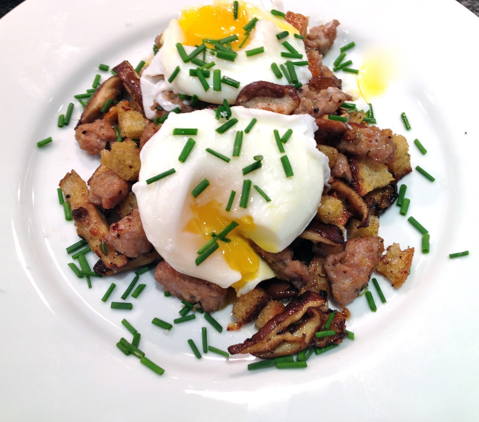 ... Wild Mushroom and Sausage Hash with Poached Eggs