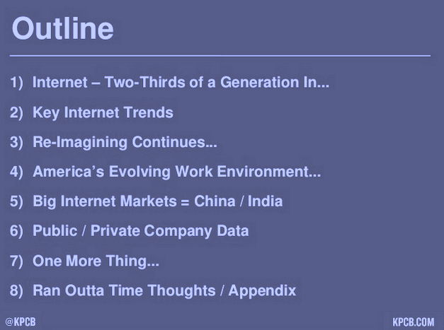 Outline of 2015 Internet Trends Report by Mary Meeker, KPCB