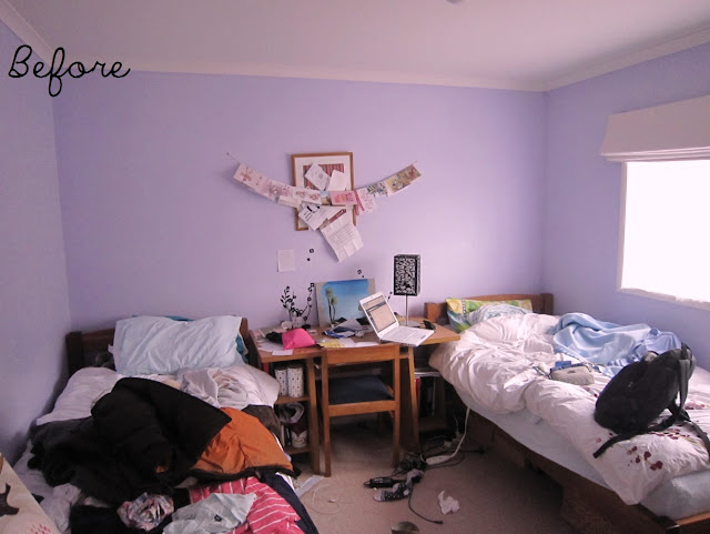 Bedroom before and after - purple to neutral by Amy MacLeod