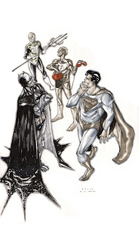 Superman, Batman, Flash and Green Lantern (Hal Jordan) hanging out in this commission done by Bruno Oliveira