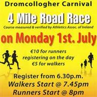 4 mile race in Co Limerick - Mon 1st July 2019