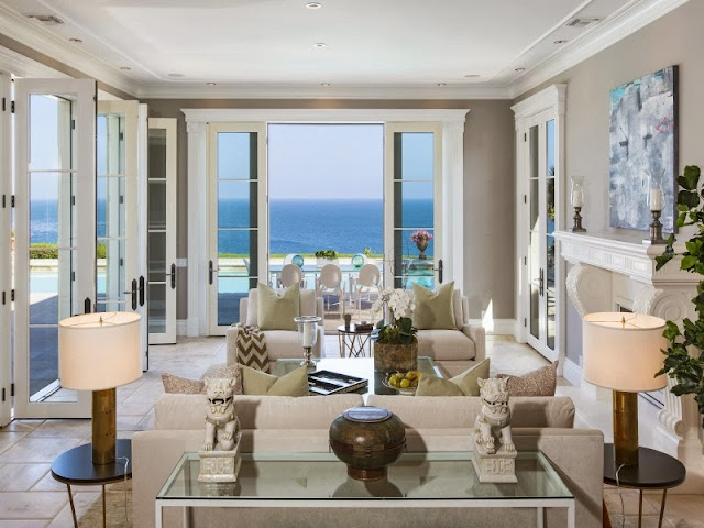 Living room in a Malibu villa with an ocean view