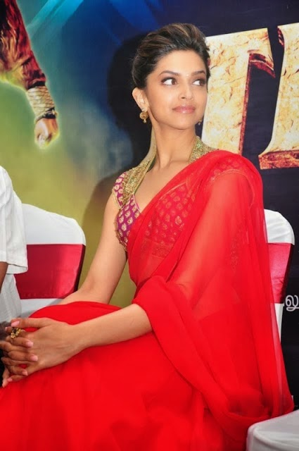 Hot Deepika Padukone in Red Saree Wallpapers.jpg