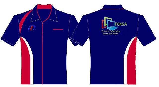 Desain Kemeja Warna Biru Tua + Logo