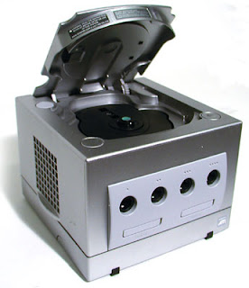 GameCube with disc drive open
