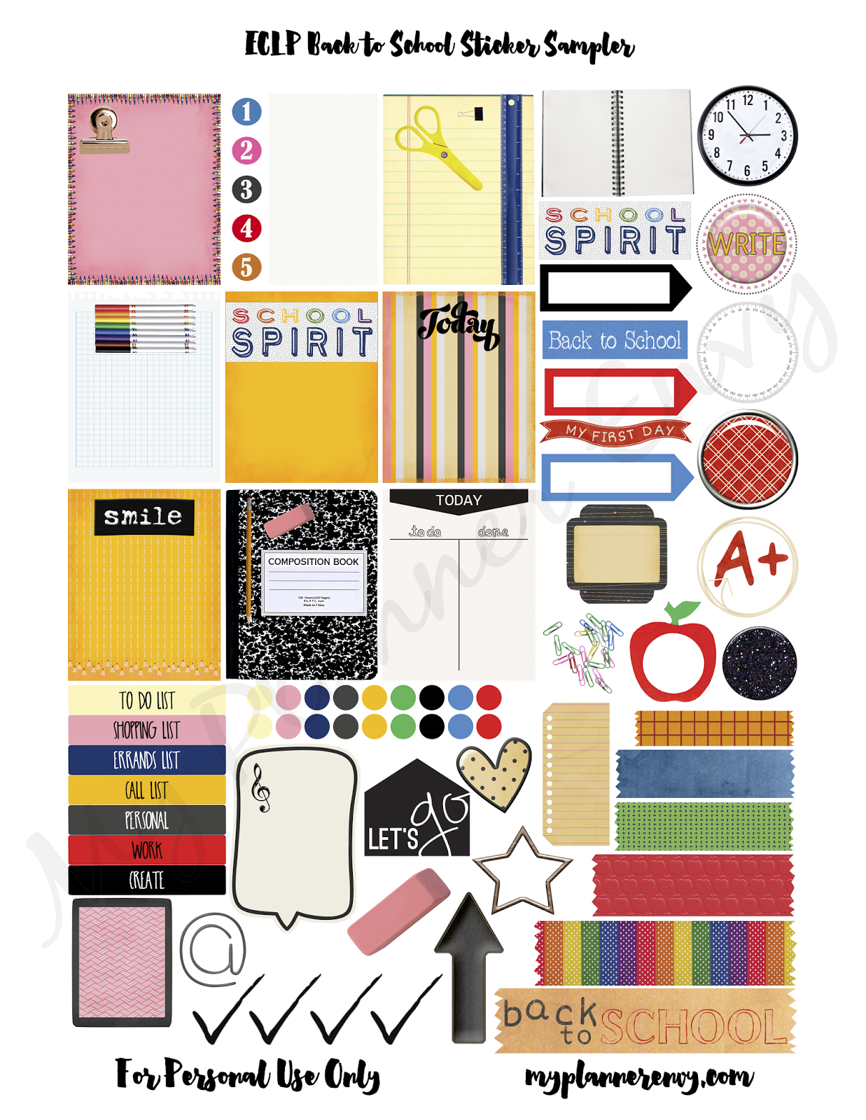 ... to School Sticker Sampler - Free Planner Printable | My Planner Envy
