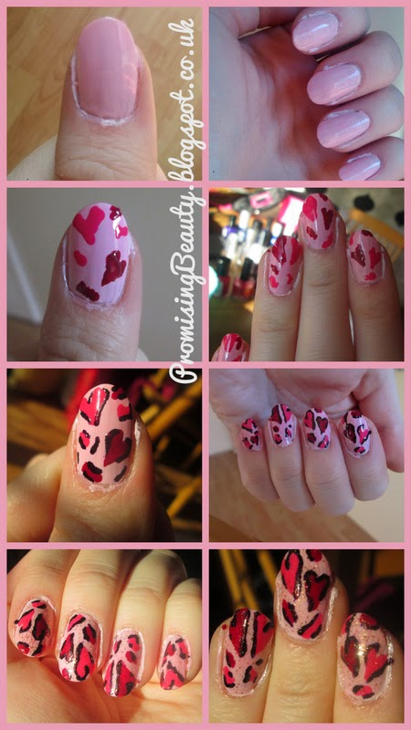 Valentine's day nails. Pink leopard print hearts manicure. pin, red, plum and glitter nail art. Romantic and fun valentine's day how to.