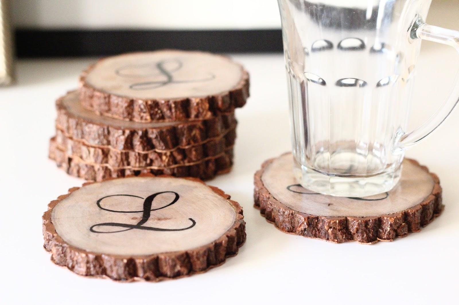 DoLeeNotedDIY TutorialWood Branch Slice Monogrammed Coasters