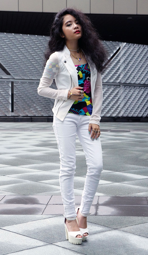 Mesh Up, Material Girl, White Mesh Jacket, Abstract Shoulderless Top, Vintage Top,  White Skinny Jeans, Chunky White Platform Heels, Playful & Snazzy Jewels, Handmade Jewelry, Chunky Crystal Necklace, Crystal Handpiece, Peelable Nail Polish, Swarovski, Curls, White outfit