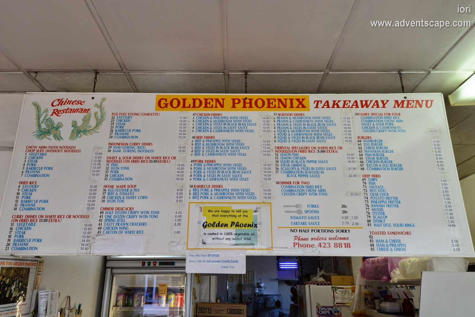 Philip Avellana, iori, adventscape, Australian Landscape Photographer, travel, restaurant, North Island, Wellsford, NZ, New Zealand, Golden Phoenix, food, takeaway, menu