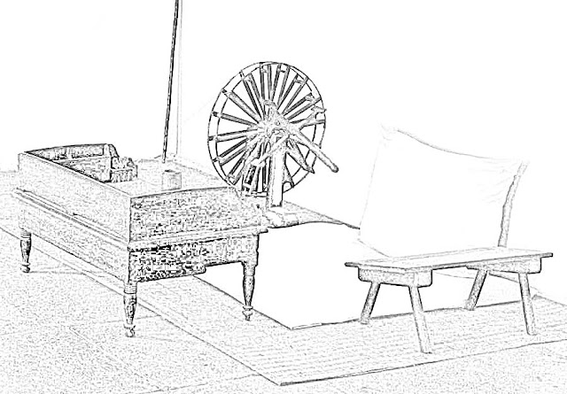 sketch of Mahatma Gandhi's room