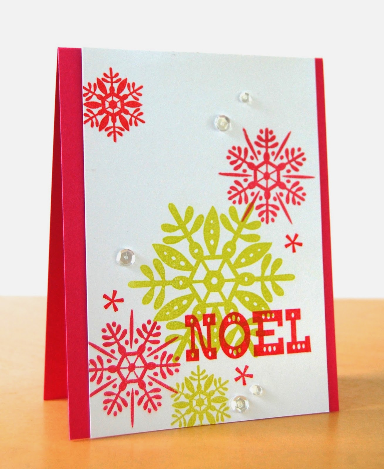 Stamping lightly noel avery elle i trimmed a panel of white card stock and stamped the snowflakes and tiny stars with avery elles lemon grass raspberry and cherry pigment ink m4hsunfo