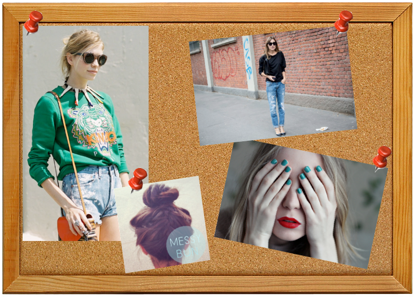 inspiration board for fall 2012 with green kenzo sweater, spiked necklace, ripped boyfriend jeans, green nails and messy bun