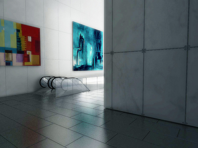 Lobby rendering of One World Trade Center by Skidmore, Owings & Merrill LLP (SOM)