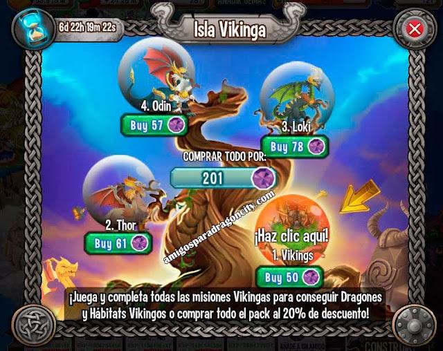 imagen de las partes y juegos de la isla vikinga de dragon city