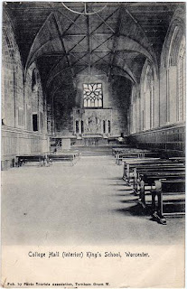 Vintage postcard of College Hall, King's School, Worcester
