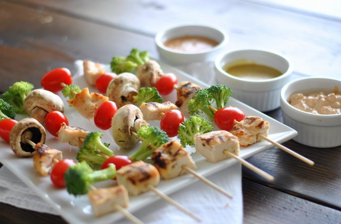 Fresh Veggie and Chicken Kebabs with 3 homemade dipping sauces