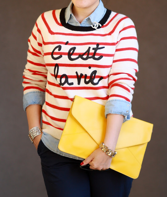 simplyxclassic red and white stripe sweater cest la vie chanel pin