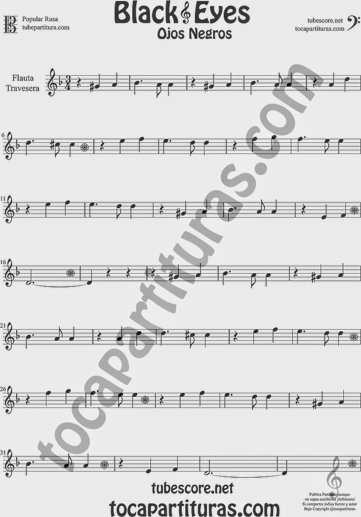 Ojos Negros Partitura de Flauta Travesera o traversa Sheet Music for Flute Music Scores Black Eyes Popular Rusa