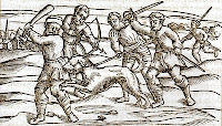 A woodcut from the Middle Ages showing a rabid dog