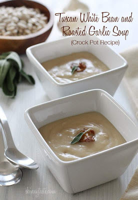 Slow Cooker Tuscan White Bean and Roasted Garlic Soup