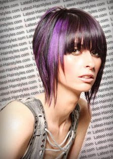 celebrity and hairstyle purple color hair funky style