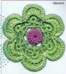 #707 Patrón de Flor tejida a Crochet