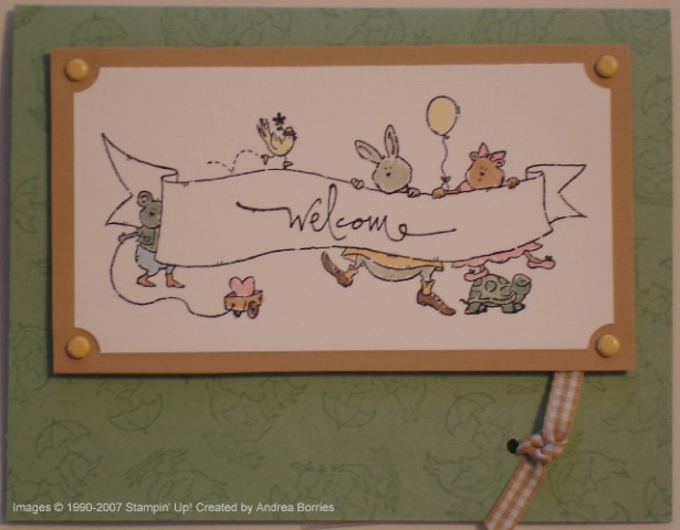 "Gender-neutral baby card with animals holding a banner that says ""welcome."""