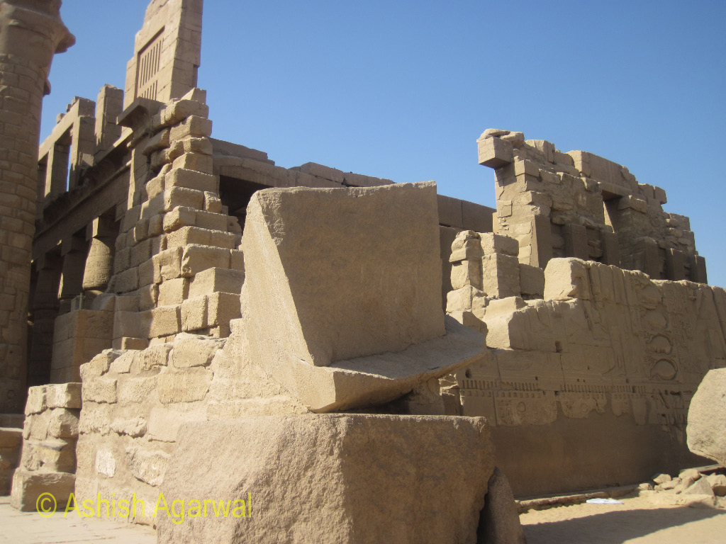 Sections of the Karnak temple in Luxor, where some sections of the temple are down