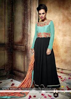 Dashing Black Anarkali Salwar Kameez / New Designs Of Turquoise Suits
