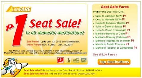 Cebu Pacific: P1 Seat Sale to All Domestic Destinations
