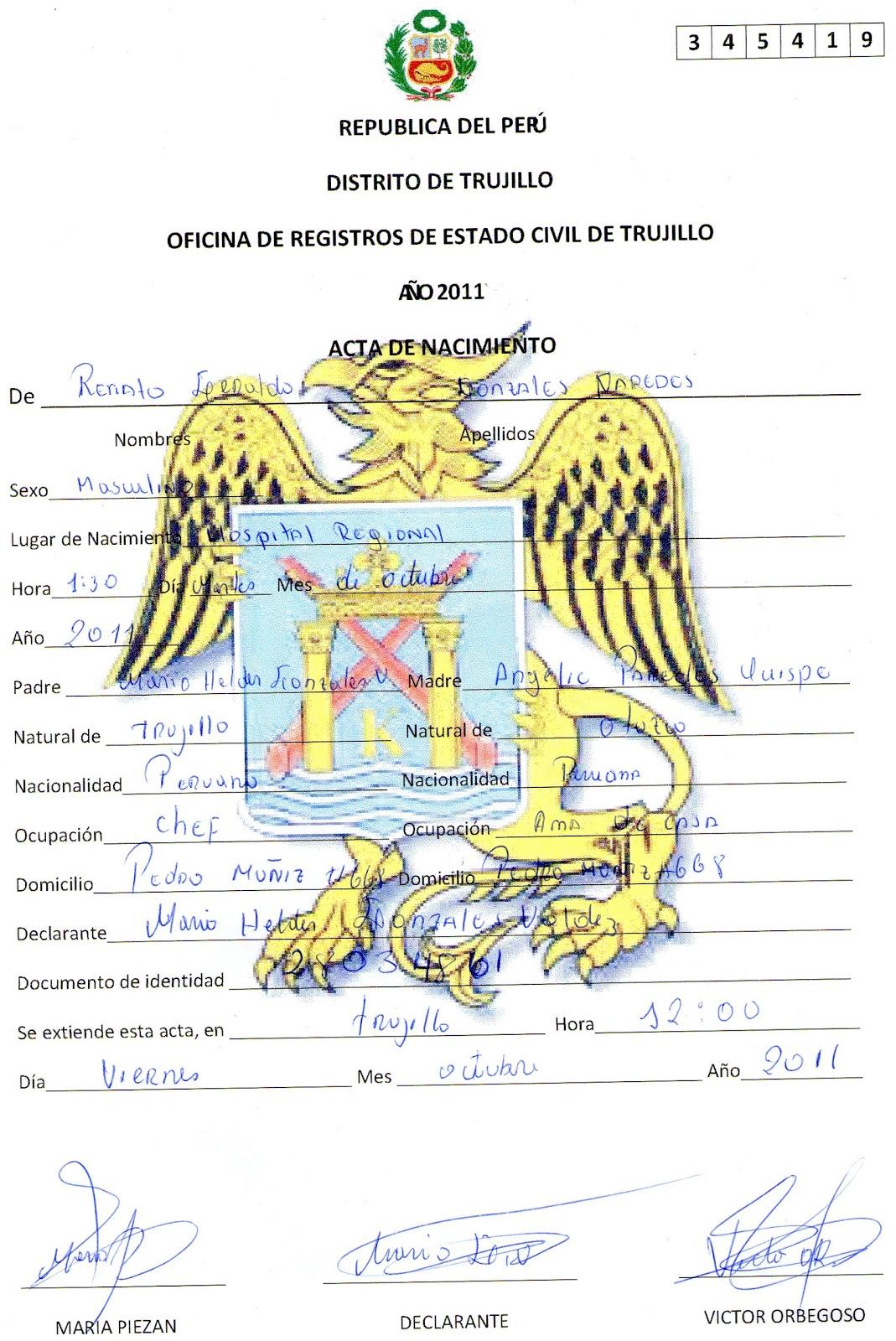 MIX DE CONOCIMIENTOS: EJEMPLO DE PARTIDA DE NACIMIENTO O DNI (Amarillo)