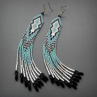 beaded earrings beadwork seed bead earrings dangle fringe earrings