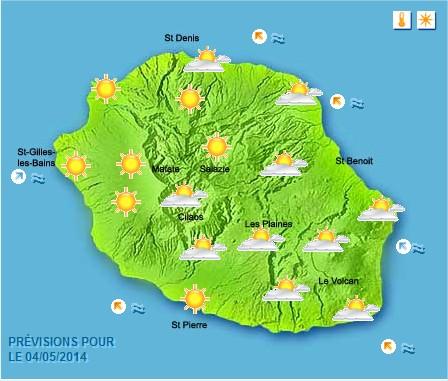 Prévisions météo Réunion pour le Dimanche 04/05/14