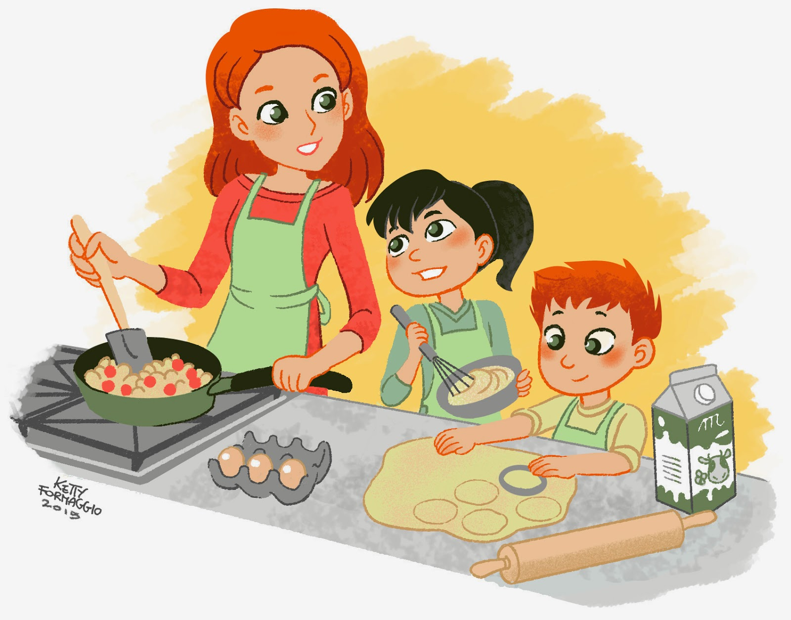 Ketty formaggio mamma e bimbi che giocano e cucinano for Disegno cucina