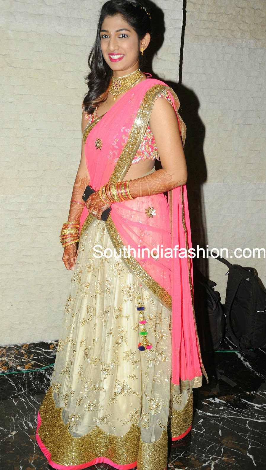 cream and pink half saree