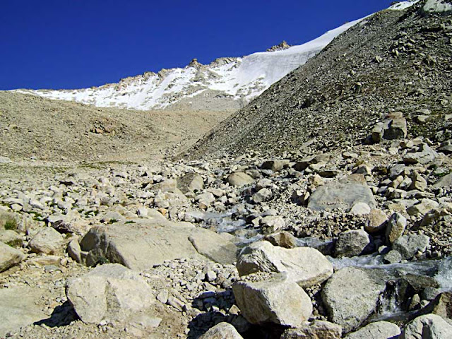 nature scene of mountains and melting snow