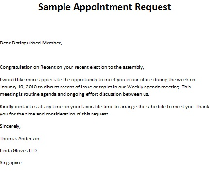 Patient appointment letter template sample appointment request sample appoinment request letter altavistaventures Image collections