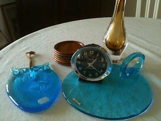 turkos glas uggla glasuggla glasbricka mantorp glasunderlägg teak baby ben westclox vas märkt SH 224
