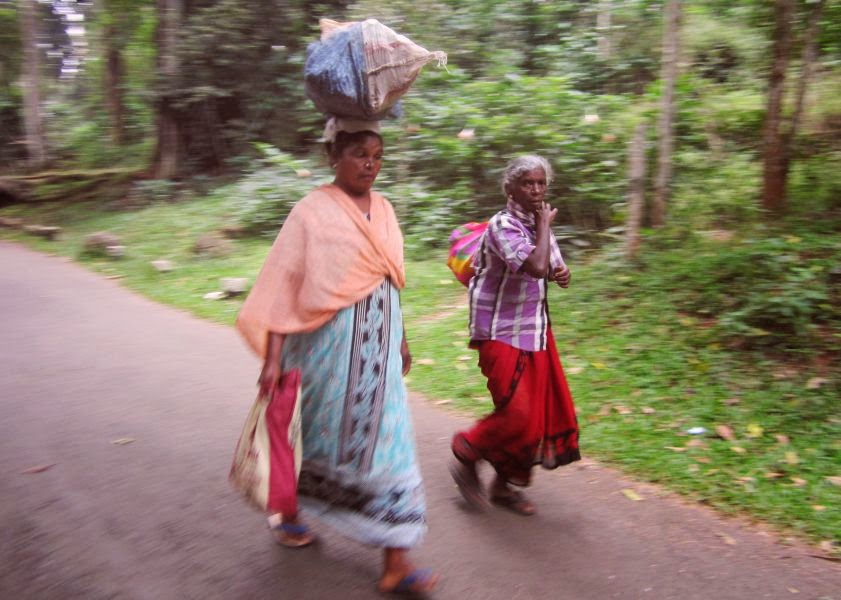 Two old women walking