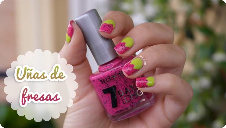 uñas de fresa strawberry nails