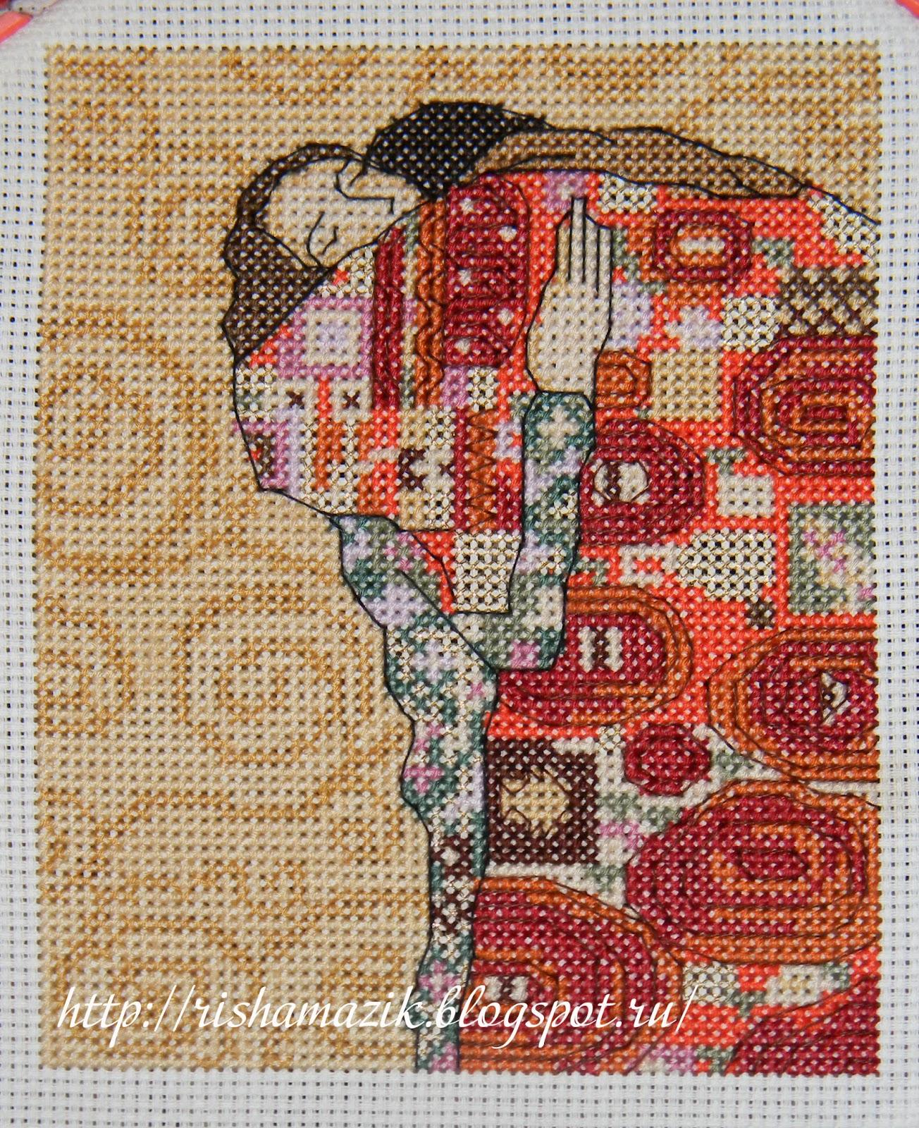 поцелуй климт схема вышивки крестом